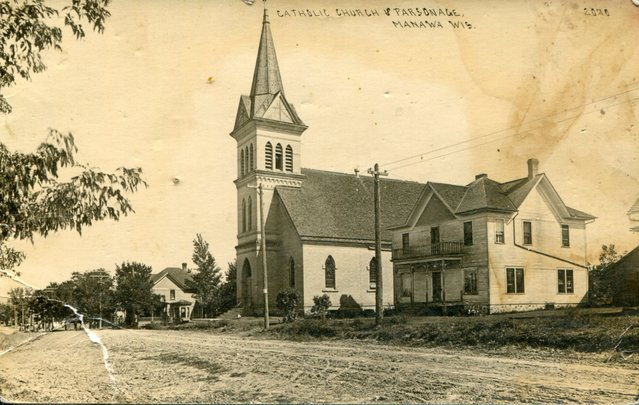 Sacred Heart Church and Rectory in 1918