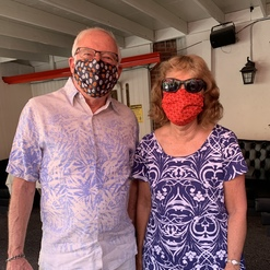 a couple in face masks