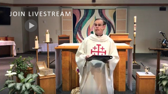 St. Anthony Parish, San Jose, pastor giving homily at livestreamed Mass