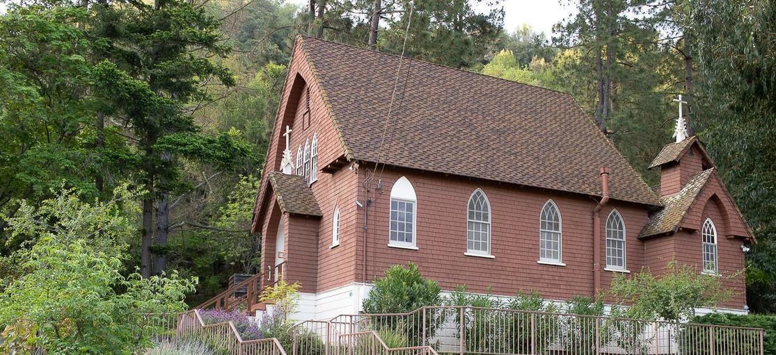 Bertram Road view of little historic St. Anthony Church New Almaden San Jose
