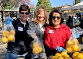St Anthony parish volunteers bag produce at Sacred Heart Community Services San Jose