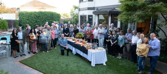 St Anthony parish in San Jose progressive dinner guests gathered back yard.