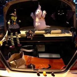 St Anthony parish in San Jose trunk or treat witch ghost scene.
