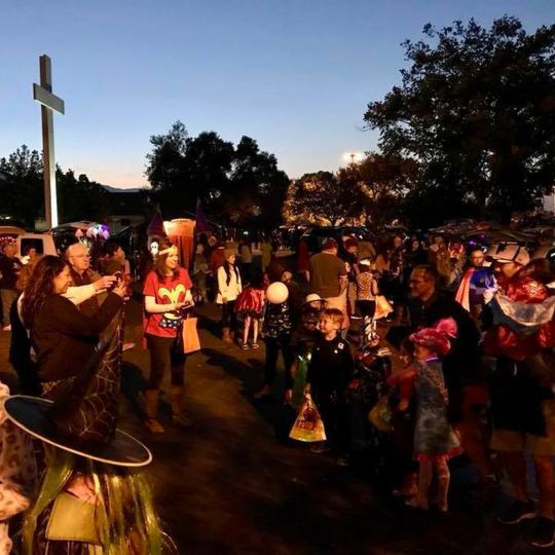 St Anthony parish in San Jose trunk or treat families parking lot.
