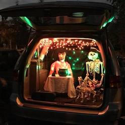 St Anthony parish in San Jose trunk or treat skeleton decoration.