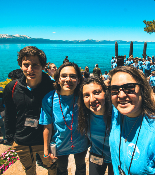 St. Anthony parish San Jose high school youth ministry leader and teens at Lake Tahoe youth retreat