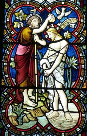 Stained glass window of Baptism of Christ with John the Baptist