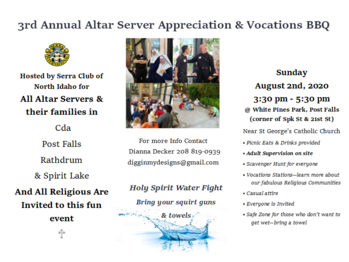 3rd Annual Altar Server and Vocations BBQ hosted by the Serra Club