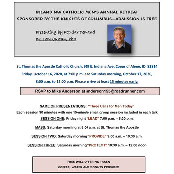 FREE Inland NW Catholic Men's Annual Retreat: Speaker - Dr. Tom Curran PC & Church