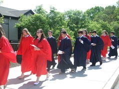 Holy Cross students in graduation procession
