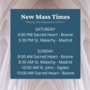 New Mass Times Effective This Weekend