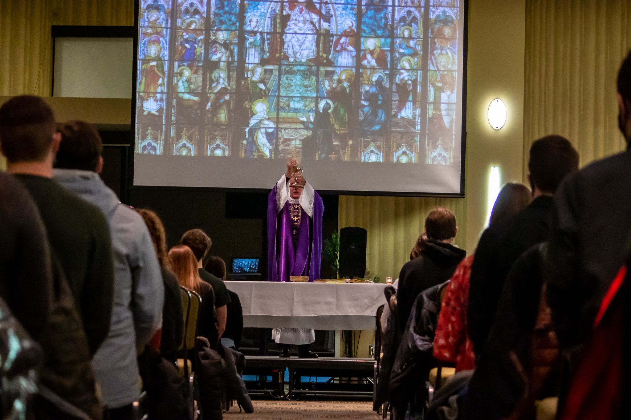 Fr. Cheney Celebrates Mass at NDSU Memorial Union for the Ash Wednesday Mass.