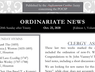 Ordinariate Newsletter: 20th Sunday after Trinity