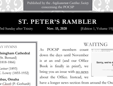St. Peter's Rambler: 23rd Sunday after Trinity