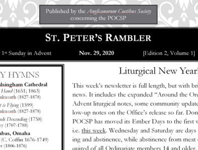 St. Peter's Rambler: 1st Sunday of Advent