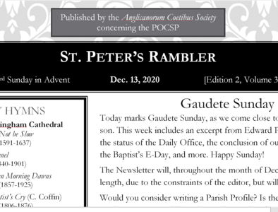 St. Peter's Rambler: 3rd Sunday of Advent