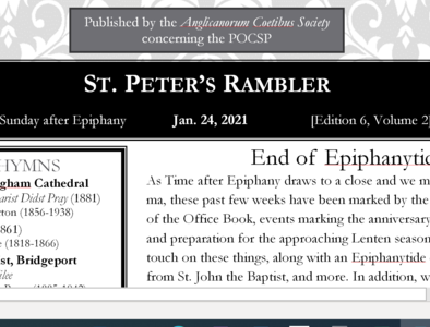St. Peter's Rambler: 3rd Sunday after Epiphany