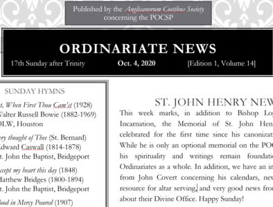 Ordinariate Newsletter: 17th Sunday after Trinity