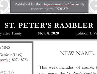 St. Peter's Rambler: 22nd Sunday after Trinity