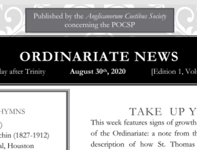 Ordinariate Newsletter: 12th Sunday after Trinity