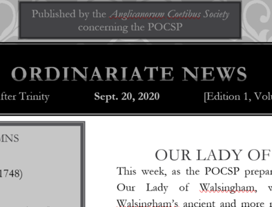 Ordinariate Newsletter: 15th Sunday after Trinity