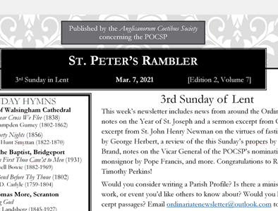St. Peter's Rambler: 3rd Sunday in Lent