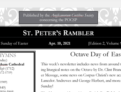 St. Peter's Rambler: 2nd Sunday of Easter