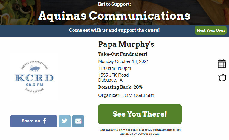 Take out pizza from Papa Murphy's and a portion of your order is donated to KCRD! Please click image and sign up!