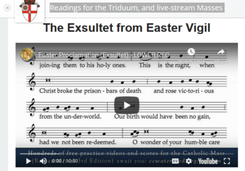 Readings for the Triduum, and live-stream Masses