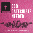 6TH GRADE & 8TH GRADE CCD TEACHERS NEEDED