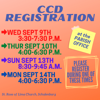 CCD REGISTRATION SCHEDULE (HORARIO DE REGISTRO CCD)
