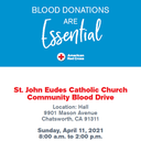 Blood Drive: Sunday, April 11 from 8:00 AM to 2:00 PM in Grill Hall