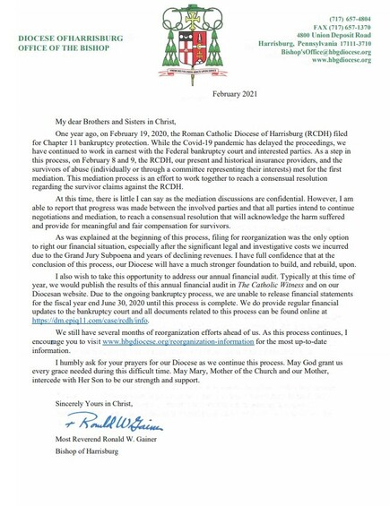 Bishop Gainer's February 2021 Letter
