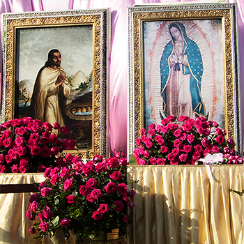 The Cathedral Welcomes the Pilgrim images of Our Lady of Guadalupe and St. Juan Diego
