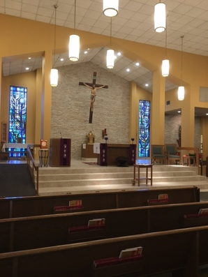 ramp up to altar area