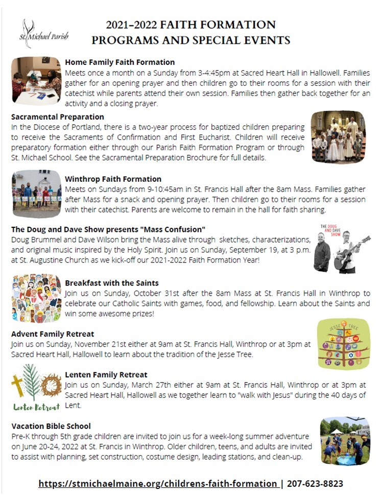 FAITH FORMATION PROGRAMS AND SPECIAL EVENTS