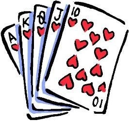 Cards showing a royal flush