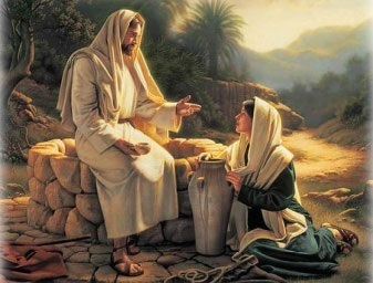 Jesus with woman at the well