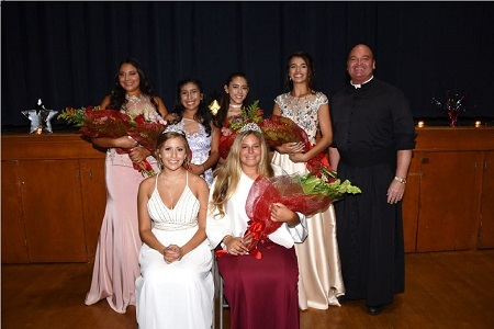 2017 Fiesta Queen and her court with Fr. Harrigan