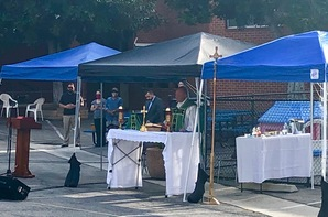 Father Harrigan Celebrate Mass Outdoors