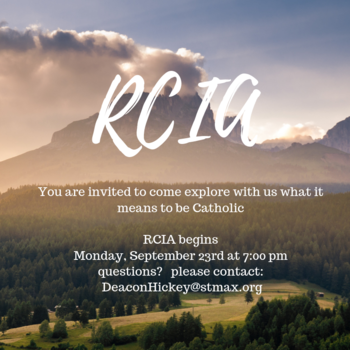 Monday, September 23, 2019 RCIA Fall Session Begins
