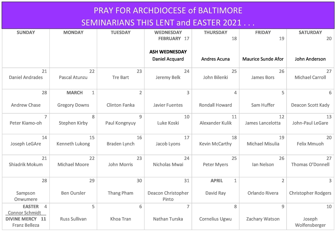 Pray for Seminarians in the Archdiocese of Baltimore
