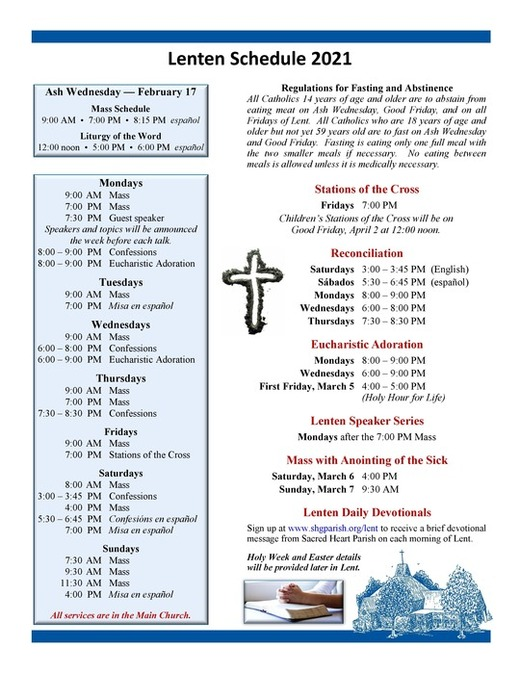 Lenten Schedule for Sacred Heart Parish 2021