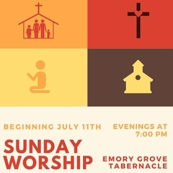 Worship service at Emory Grove on July 11