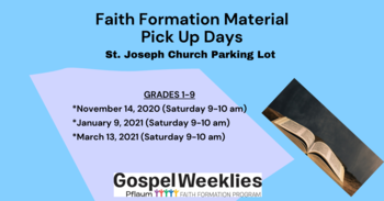 Faith Formation Material Pickup Day (Grades 1-9)