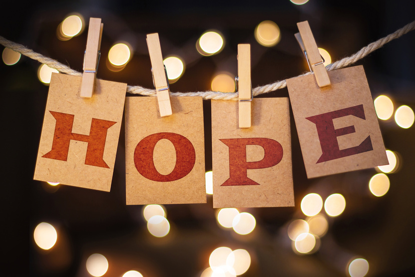 An image of hope spelled with clothespins.
