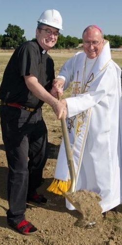 Fr. Rex & Bishop Blaire in the Ground-Breaking Ceremony