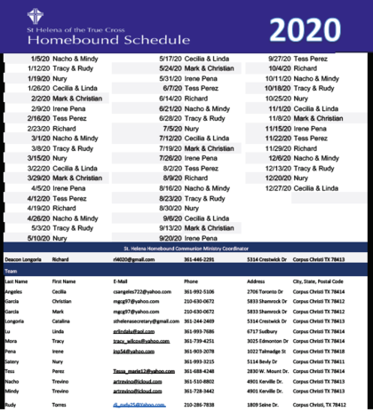 Homebound Communion Schedule 2020
