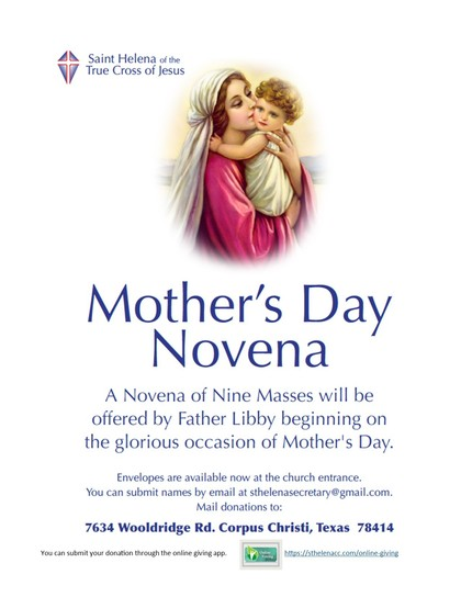 Mass intentions for Mother's Day Novena