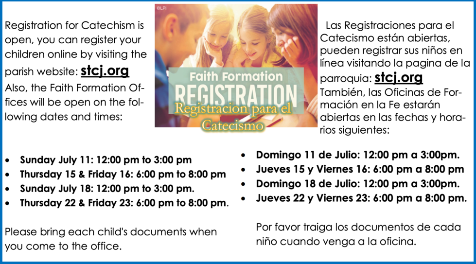 Religious Education Registration is Now Open